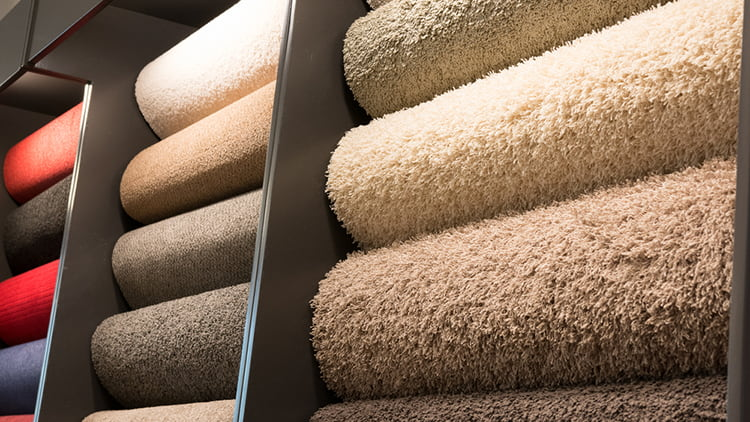 Carpets on display for buyers to choose.
