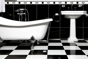 Black and white tiles for bathroom floor