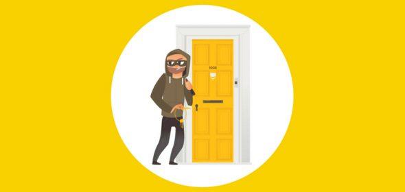 A thief entering trough the front door,