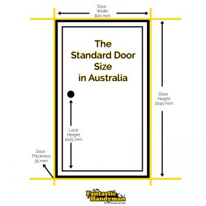 An illustration of the standard door sizes in Australia.