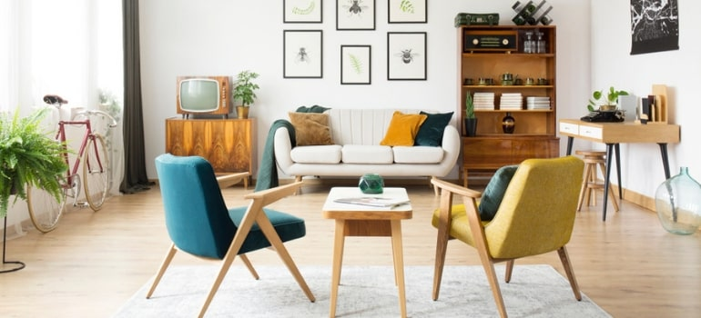 A 70's inspired living room.